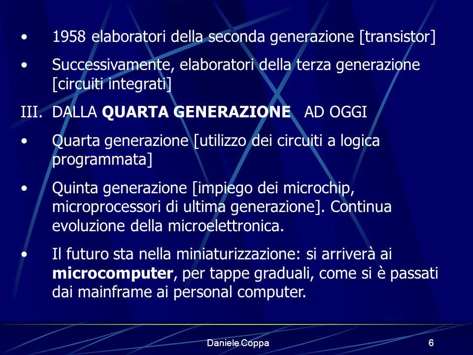 1958 elaboratori della seconda generazione [transistor]
